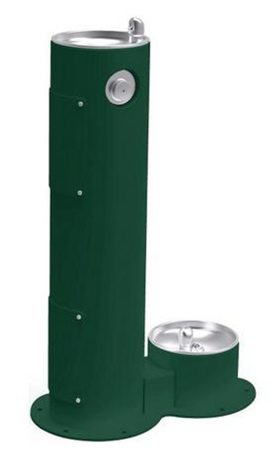 Elkay LK4400DB Pedestal Outdoor Drinking Fountain with Pet Fountain, Non-Refrigerated