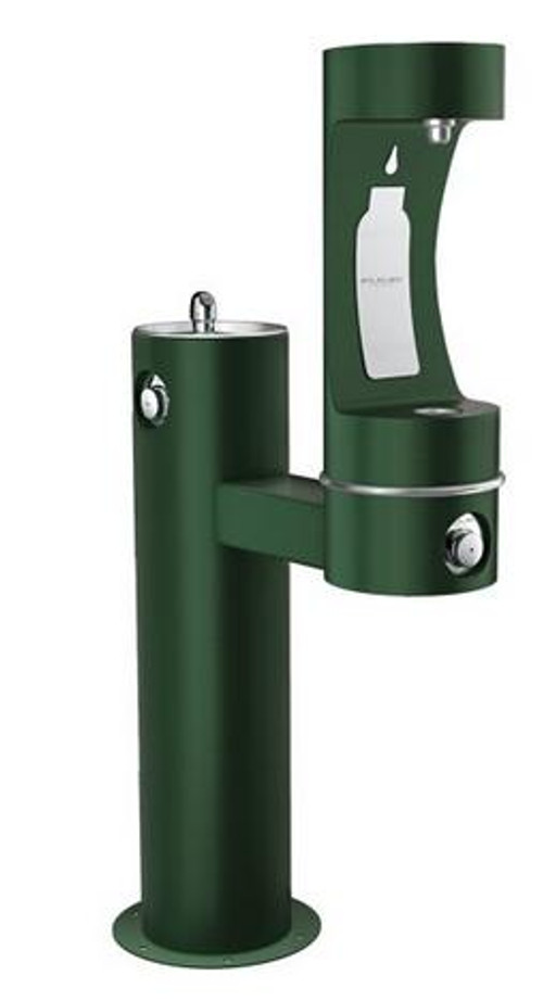 Elkay LK4420BF1L EZH2O Outdoor Drinking Fountain and Bottle Filling Station, Tubular Pedestal, ADA, Non-Refrigerated