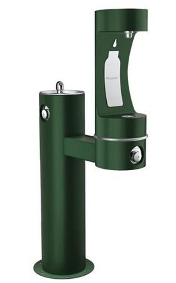 Elkay LK4420BF1LFRK EZH2O Outdoor Drinking Fountain and Bottle Filling Station, Freeze-Resistant, Tubular Pedestal, ADA, Non-Refrigerated