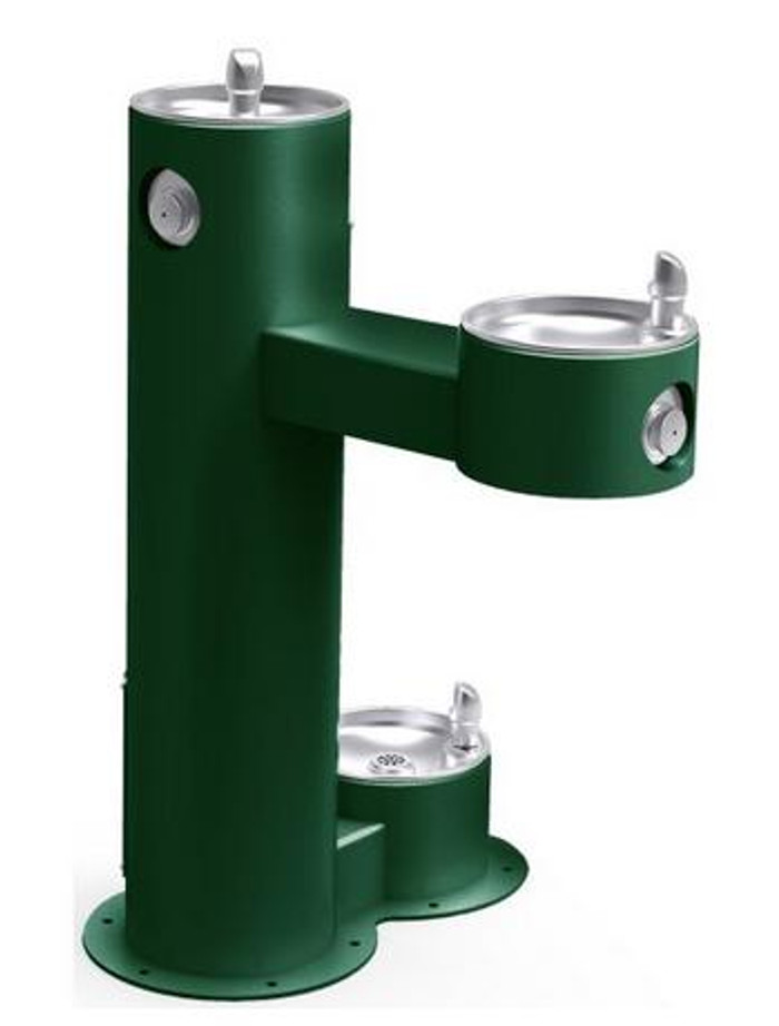 Elkay LK4420DBFRK Outdoor Drinking Fountain, Freeze-Resistant, with Pet Fountain, Bi-Level, Pedestal, ADA, (Non-Refrigerated)