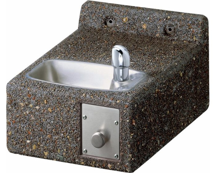 Elkay LK4593FR Stone Aggregate Outdoor Drinking Fountain, Freeze-Resistant, Face-Mounted, ADA Compliant, (Non-Refrigerated)