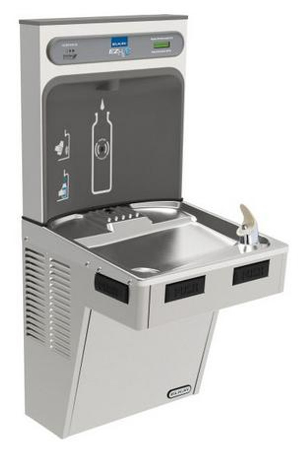 Elkay LMABF8WSSK EZH2O Bottle Filling Station with Single Mechanically-Activated Refrigerated Drinking Fountain, Filtered, 8.0 GPH Water Cooler, ADA, Stainless Steel