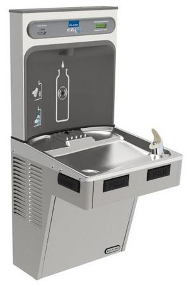 Elkay LMABFDWSLK EZH2O Bottle Filling Station with Single Mechanically-Activated Drinking Fountain, Filtered, ADA, Light Gray Granite, (Non-Refrigerated)