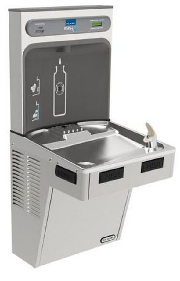 Elkay LMABFDWSSK EZH2O Bottle Filling Station with Single Mechanically-Activated Drinking Fountain, Filtered, ADA, Stainless Steel, (Non-Refrigerated)