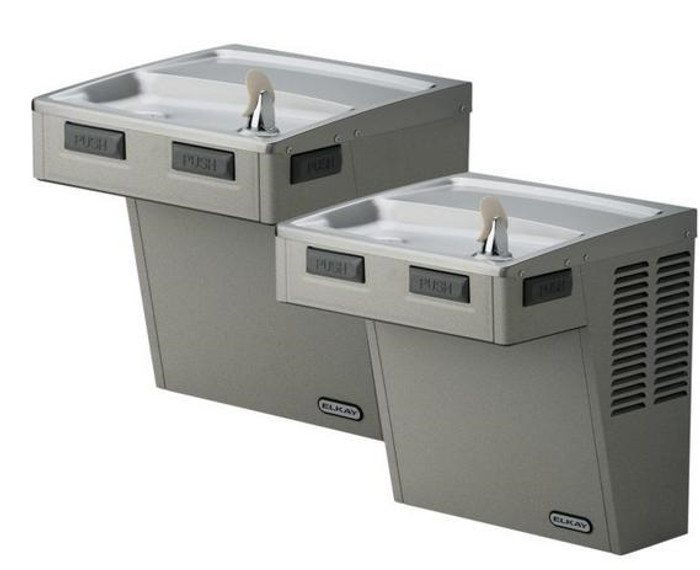 Elkay LMABFTL8SC Refrigerated Drinking Fountain, Filtered, Bi-Level, Mechanically-Activated, 8.0 GPH Water Cooler, ADA, Stainless Steel