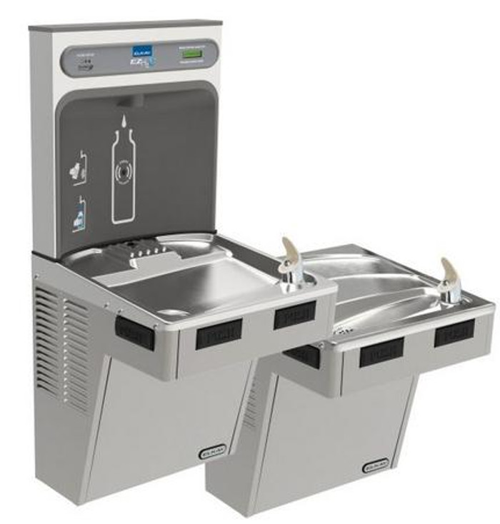Elkay LMABFTL8WSLK EZH2O Bottle Filling Station with Bi-Level Mechanically-Activated Refrigerated Drinking Fountain, Filtered, 8.0 GPH Water Cooler, ADA, Light Gray Granite