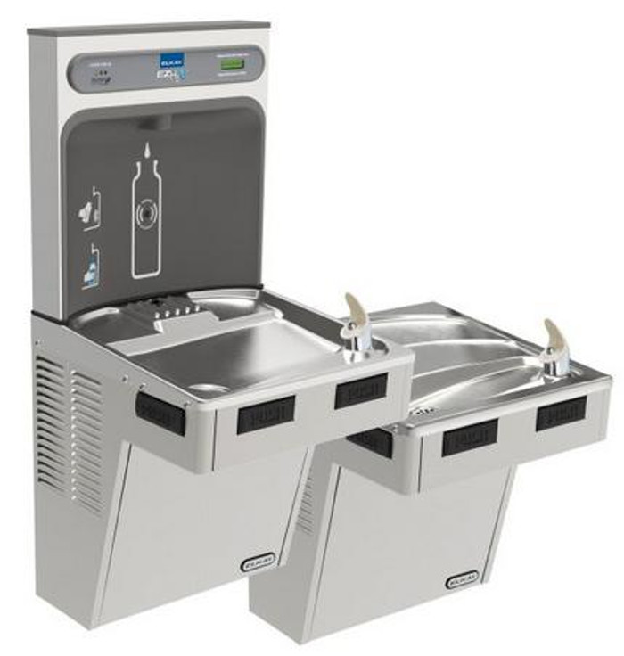 Elkay LMABFTL8WSSK EZH2O Bottle Filling Station with Bi-Level Mechanically-Activated Refrigerated Drinking Fountain, Filtered, 8.0 GPH Water Cooler, ADA, Stainless Steel