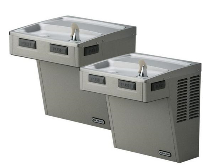 Elkay LMABFTLDDLC Drinking Fountain, Filtered, Bi-Level, Mechanically-Activated, ADA, Light Gray Granite, (Non-Refrigerated)