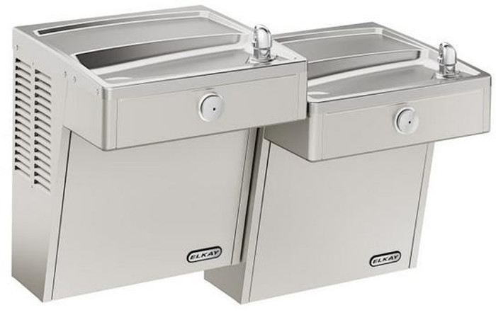 Elkay LVRCTLSCDDSC Drinking Fountain, Vandal-Resistant, Filtered, Bi-Level, ADA, Includes Louver Screens, (Non-Refrigerated)