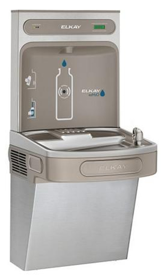 Elkay LZS8WSVRSK EZH2O Bottle Filling Station with Single Filtered LZ Refrigerated Drinking Fountain, Vandal-Resistant Bubbler, 8.0 GPH, ADA, Stainless Steel