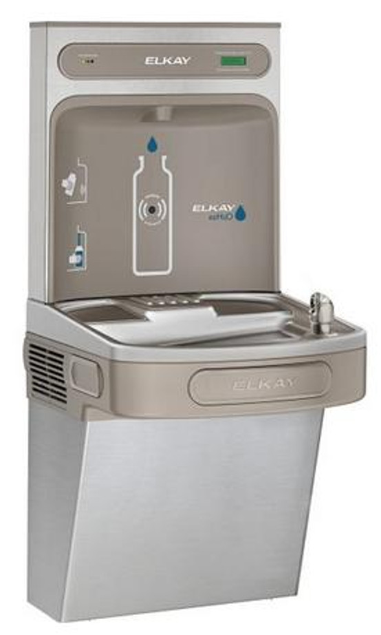 Elkay LZSDWSVRSK EZH2O Bottle Filling Station with Single Filtered LZ Drinking Fountain, Vandal-Resistant Bubbler, ADA, Stainless Steel, (Non-Refrigerated)