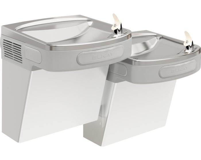 Elkay LZSTL8SC Refrigerated Drinking Fountain, Versatile Filtered Wall Mount Bi-Level, 8.0 GPH Water Cooler, ADA, Pushbar Controls on Front and Sides, Stainless Steel