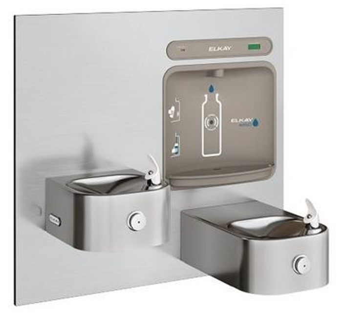 Elkay LZWS-EDFP217K EZH2O Bottle Filling Station with Soft Sides Drinking Fountain, Filtered, Bi-Level, ADA, GreenSpec Listed, (Non-Refrigerated)