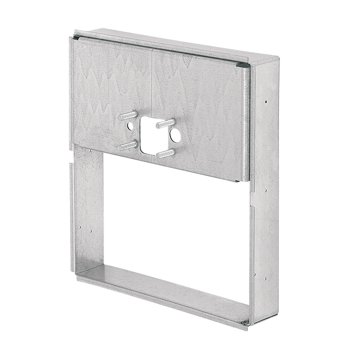 Haws MTGFR.DF1 mounting frame is made of heavy gauge galvanized steel with pre-punched mounting holes for use with Haws 'swirl bowl' series fountains and is used to provide access to an in-wall trap