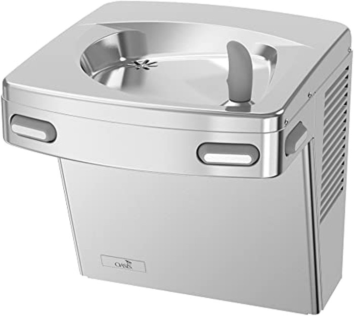 Oasis PG8AC STN Refrigerated Drinking Fountain, Energy/Water Efficient, Water Saver/Flex Guard Bubbler, ADA, 8 GPH, Non-Filtered, Stainless Steel