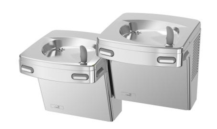 Oasis PG8ACSL STN Refrigerated Drinking Fountain, Universal Split-Level, Energy/Water Efficient, Water Saver/Flex Guard Bubbler, Mech Side & Front Push Pads, ADA, 8 GPH, Non-Filtered, Stainless Steel
