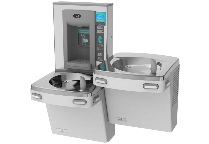 Oasis PGF2EBQSL Versacooler II Energy Efficient Universal Drinking Fountain and Bottle Filler, QUASAR UVC-LED VersaFiller with Hands Free Activation, Bi-Level, Remedi Filter, Non-Refrigerated