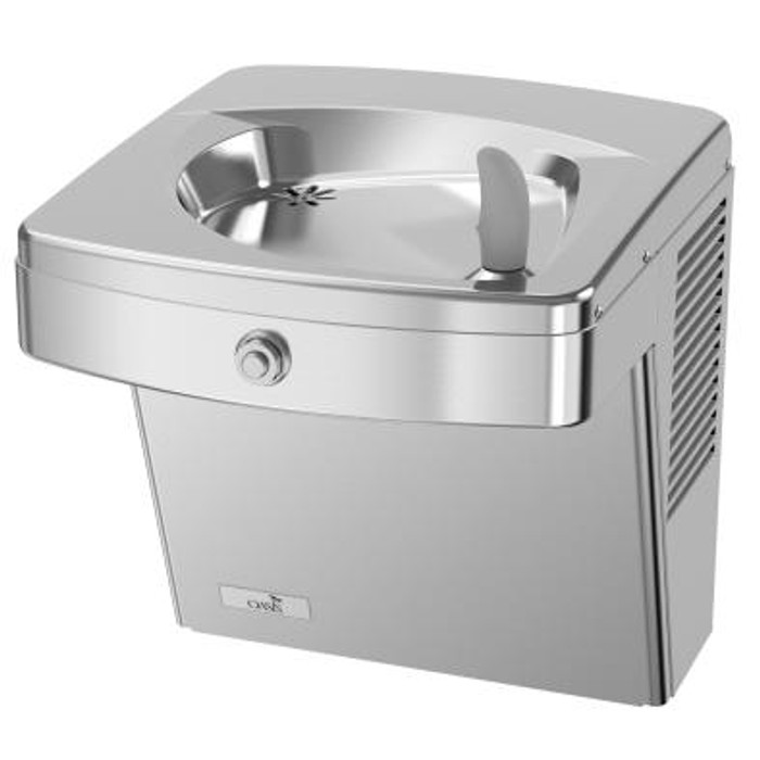 Oasis PGV8AC Refrigerated Drinking Fountain, Vandal Resistant, Energy/Water Efficient,  Front Push Button,  Flex Guard Bubbler, ADA, 8 GPH, Non-Filtered, Stainless Steel