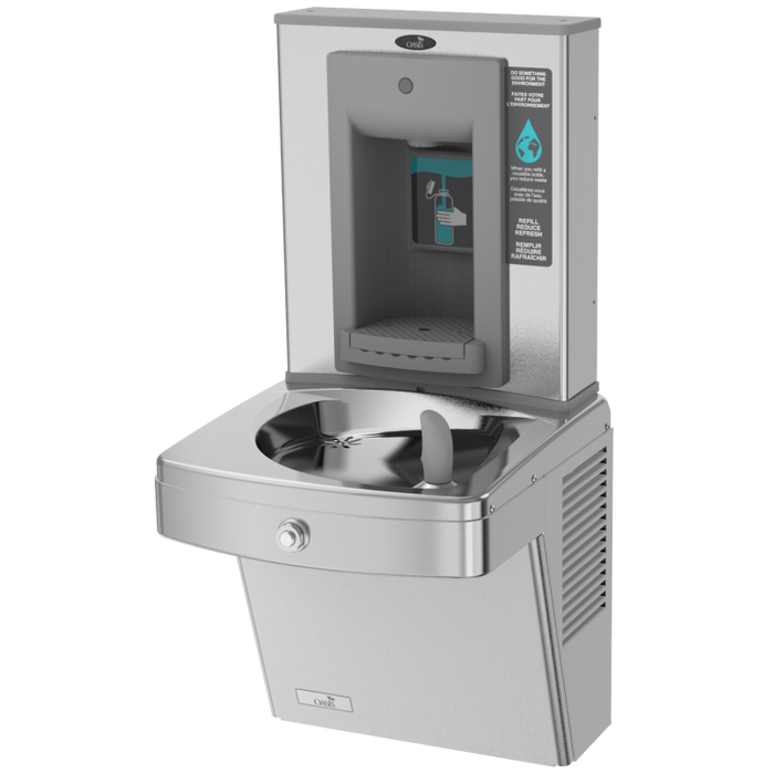 Oasis PGVSBF Energy Efficient Drinking Fountain with Mechanical Activation Sports Bottle Filler, Vandal Resistant, ADA, Non-Filtered, Non-Refrigerated, Stainless Steel