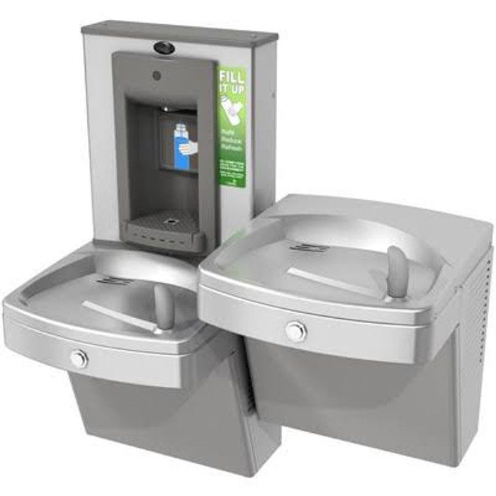 Oasis PV8SBFSL VersaFiller Bottle Filler Water Cooler Refrigerated Drinking Fountain Combo, Split Level, Vandal Resistant, ADA, 8 GPH, Stainless Steel (NEW ENERGY EFFICIENT PGV8SBFSL WILL BE SHIPPED)