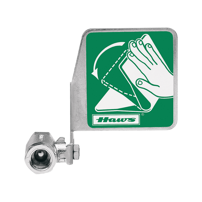 """Haws SP229, Push Flag, Stay-Open Ball Eyewash Valve Assembly, Chrome-Plated Brass, Horizontal Mount, 1/2"""" FIPS Inlet x 1/2"""" FIPS Outlet"""