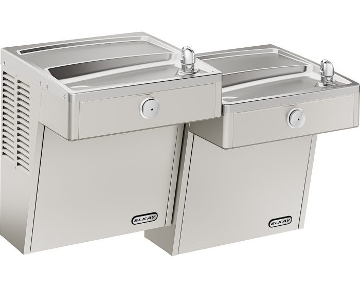 Elkay VRCTL8SC Refrigerated Drinking Fountain, Vandal-Resistant, Bi-Level, ADA, 8.0 GPH Water Cooler, Non-Filtered, Stainless Steel
