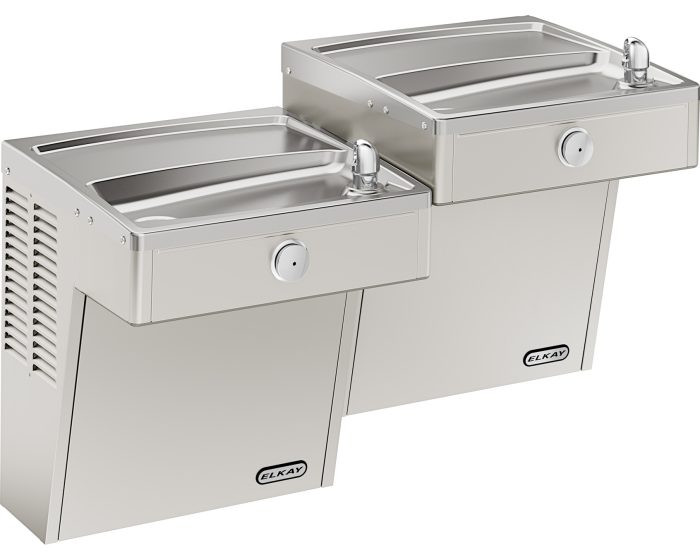 Elkay VRCTLR8SC Refrigerated Drinking Fountain, Vandal-Resistant, Reversed Bi-Level, ADA, 8.0 GPH Water Cooler, Non-Filtered, Stainless Steel