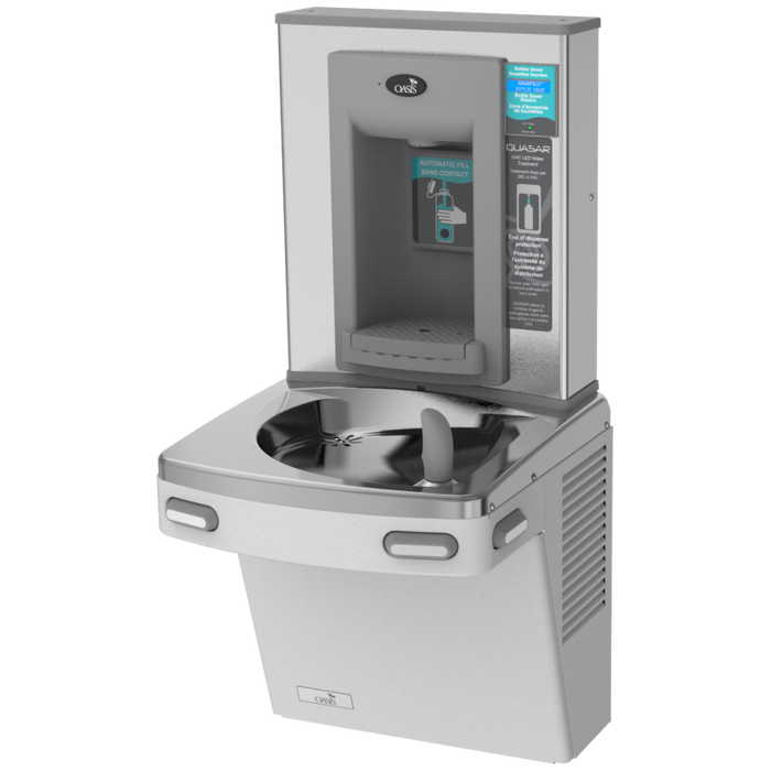 Oasis PGF2EBQ STN Versacooler II Energy Efficient Drinking Fountain and Bottle Filler, QUASAR UVC-LED VersaFiller with Hands Free Activation, Filtered, Non-Refrigerated, Stainless Steel