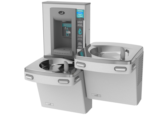 Oasis PGEBQSL STN Versacooler II Energy Efficient Universal Drinking Fountain and Bottle Filler, QUASAR UVC-LED VersaFiller with Hands Free Activation, Bi-Level, Non-Filtered, Non-Refrigerated, Stainless Steel