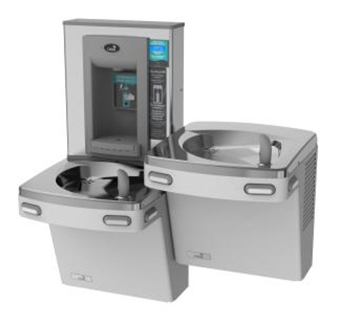 Oasis PGF2EBQSL STN Versacooler II Energy Efficient Universal Drinking Fountain and Bottle Filler, QUASAR UVC-LED VersaFiller with Hands Free Activation, Bi-Level, Remedi Filter, Non-Refrigerated, Stainless Steel