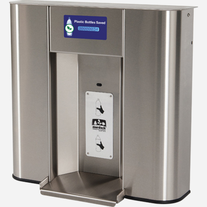 Murdock BF2S-BCD Bottle Filler with Counter Display, Deck Mounted, Sensor Operated, Stainless Steel, for A171 or A111 Series