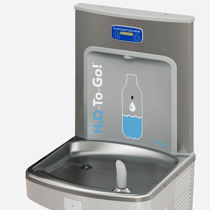 Murdock BF12R-BCD H2O to go! ADA Retro-Fit Bottle Filler, 1 GPM, Deck Mounted, Sensor Operated, Bottle Counter Display
