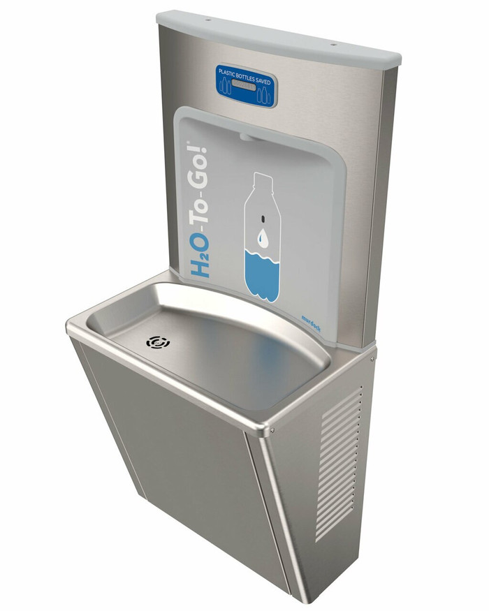 Murdock BFEZS168-BCD EZReach Compact, Refrigerated, Sensor Operated Water Refill Station, Stainless Steel, Bottle Counter Display