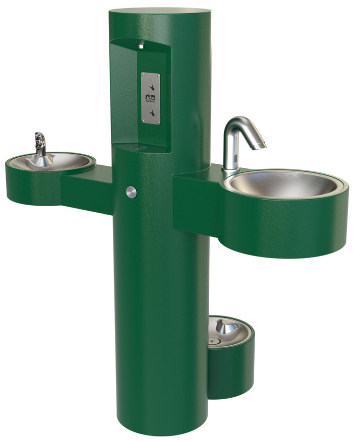 Murdock GWQ85-PF-SO Wash-N-Go Hand Wash Basin, Bottle Filler, Drinking Fountain, Pet Fountain, Pedestal, Green Finish, Sensor Operated, Non-refrigerated