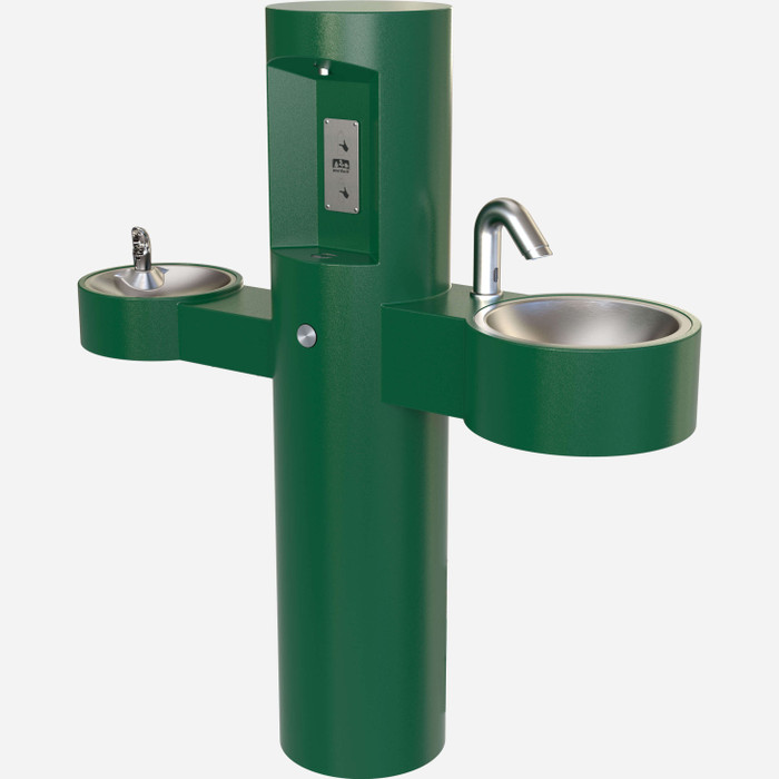 Murdock GWQ85-SO Wash-N-Go Hand Wash Basin, Bottle Filler, Drinking Fountain, Pedestal, Green Finish, Sensor Operated, Non-refrigerated