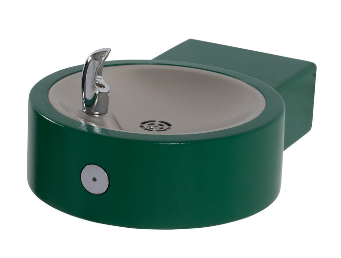 Murdock GRC75 Outdoor Drinking Fountain ADA, Round Wall Mounted, Push Button, Green Finish, Non-refrigerated
