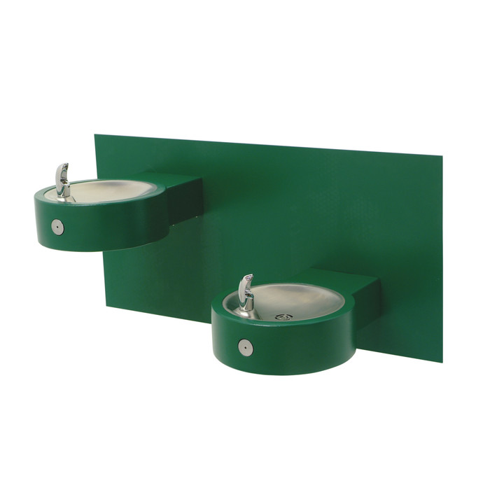 Murdock GRD65-BP6-FRA4 Outdoor Drinking Fountain ADA, Freeze Resistant, Bi-Level, Round Wall Mounted, Push Button, Green Finish, Non-refrigerated