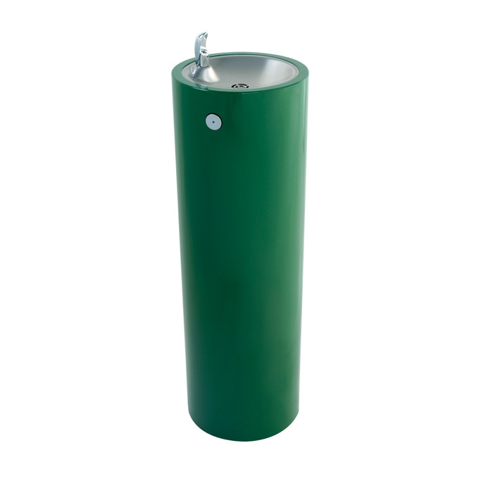 Murdock GRF35 Outdoor Drinking Fountain, Round Pedestal, Push Button, Green Finish, Non-refrigerated