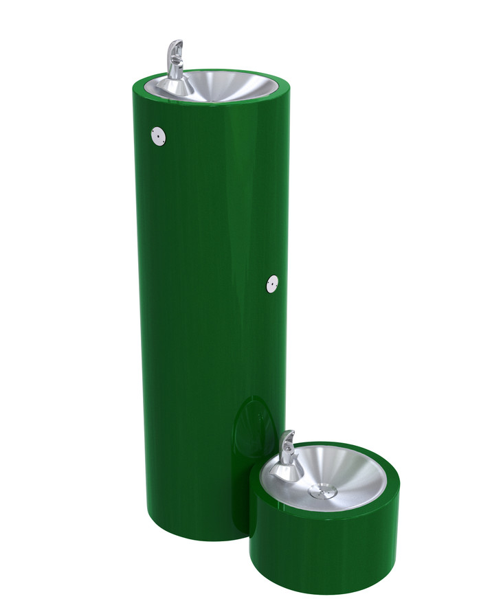 Murdock GRF35-PF Outdoor Drinking Fountain, Round Pedestal, Pet Fountain, Push Button, Green Finish, Non-refrigerated