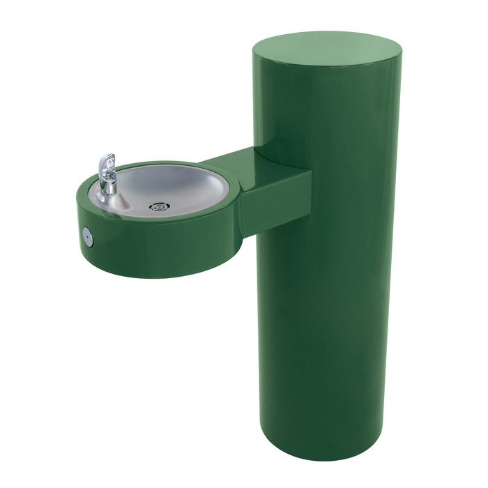 Murdock GRJ85 Outdoor Drinking Fountain ADA, Round Pedestal, Push Button, Green Finish, Non-refrigerated