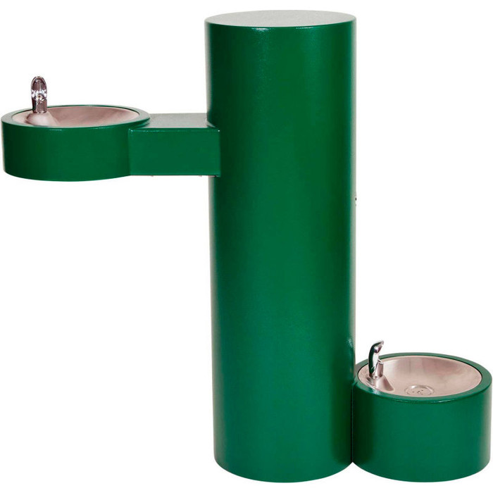 Murdock GRJ85-PF Outdoor Drinking Fountain ADA, Round Pedestal, Pet Fountain, Push Button, Green Finish, Non-refrigerated