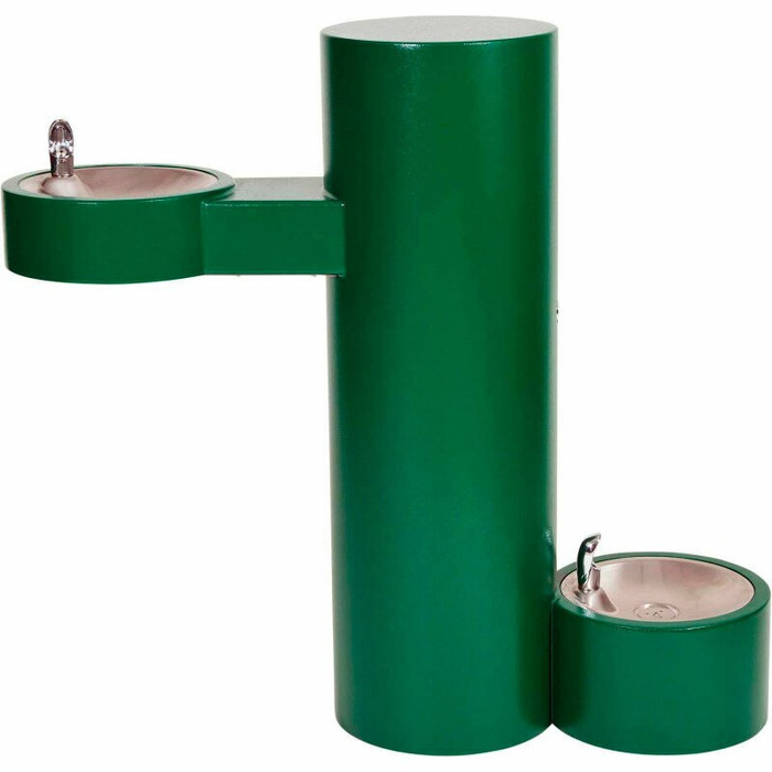 Murdock GRJ85-PF-FRU2 Outdoor Drinking Fountain ADA, Freeze Resistant, Round Pedestal, Pet Fountain, Push Button, Green Finish, Non-refrigerated