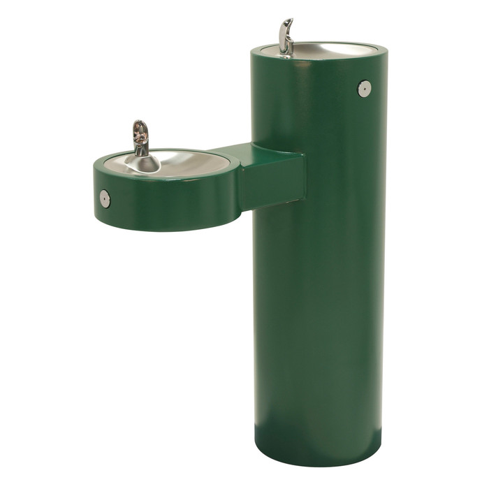 Murdock GRM45 Outdoor Drinking Fountain ADA, Bi-Level, Round Pedestal, Push Button, Green Finish, Non-refrigerated