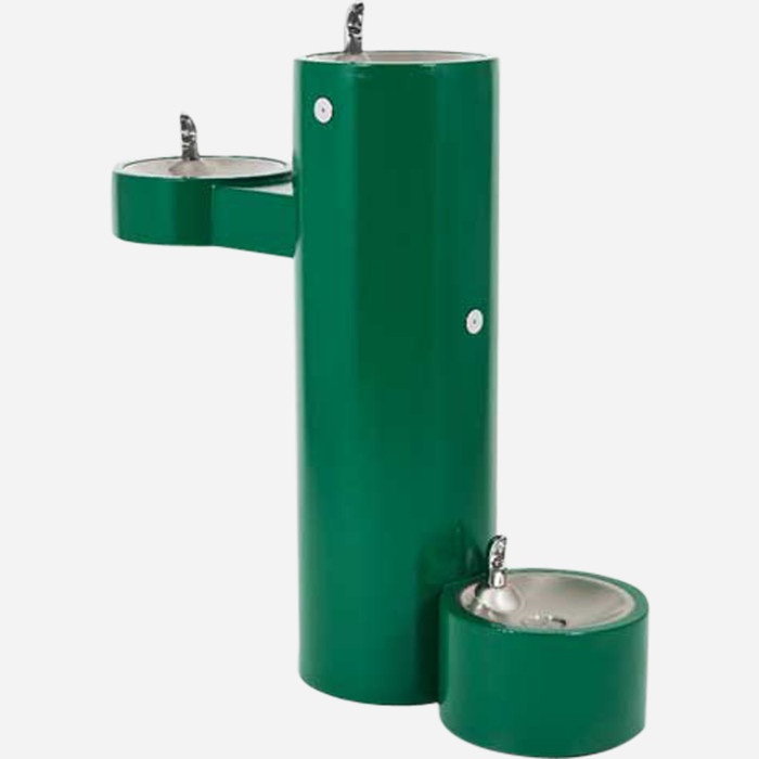 Murdock GRM45-PF Outdoor Drinking Fountain ADA, Bi-Level, Round Pedestal, Pet Fountain, Push Button, Green Finish, Non-refrigerated