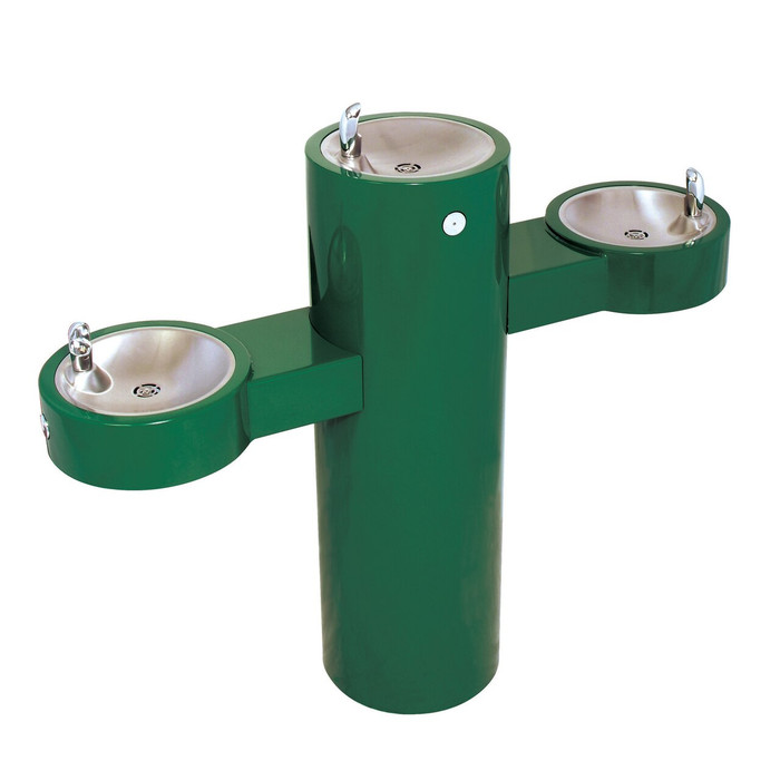 Murdock GRQ45-FRU3 Outdoor Drinking Fountain ADA, Freeze Resistant, Tri-Level, Round Pedestal, Push Button, Green Finish, Non-refrigerated