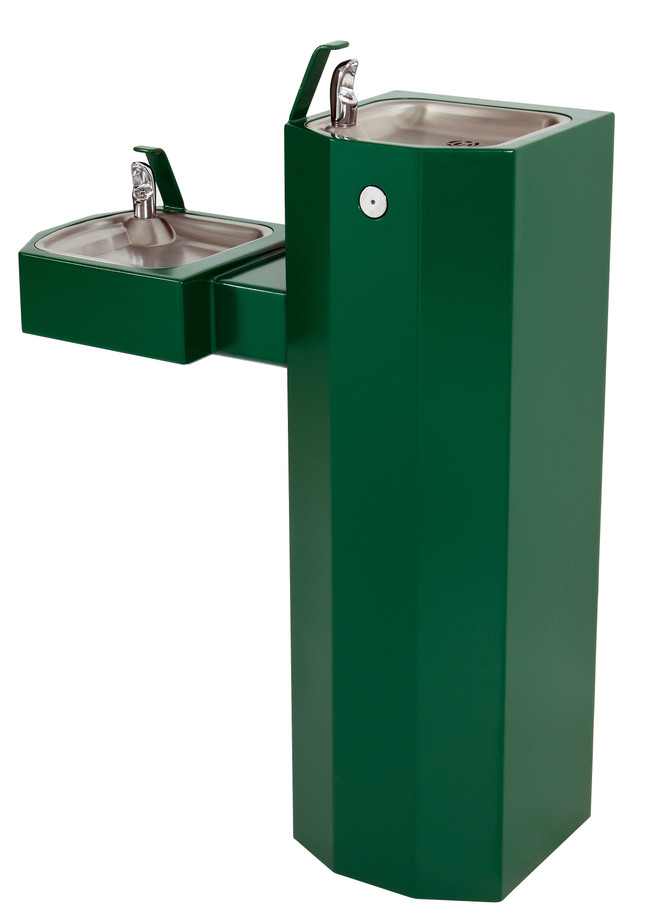 Murdock GSM55 Outdoor Drinking Fountain ADA, Bi-Level, Square Pedestal, Push Button, Green Finish, Non-refrigerated