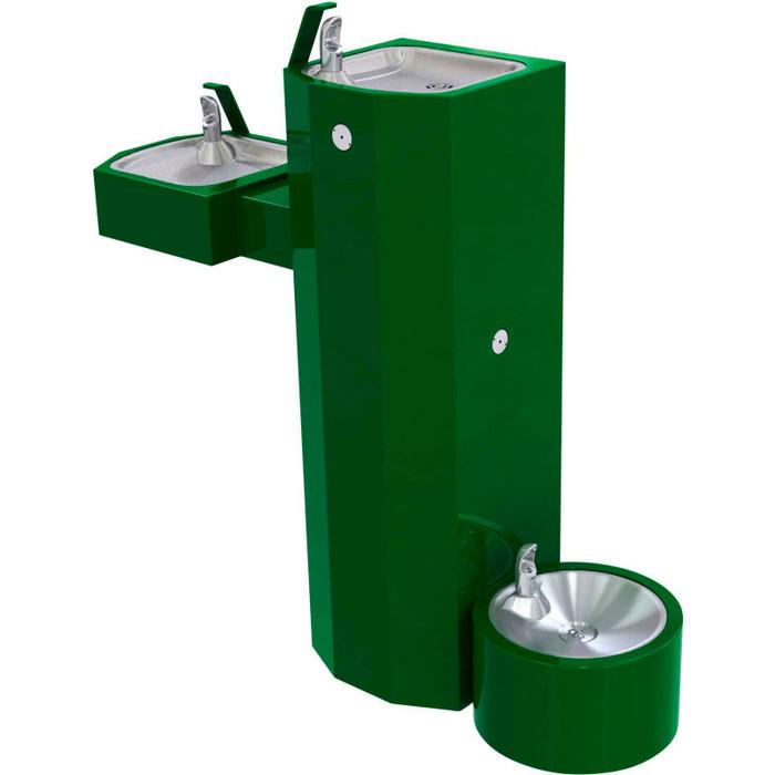 Murdock GSM55-PF Outdoor Drinking Fountain ADA, Bi-Level, Square Pedestal, Pet Fountain, Push Button, Green Finish, Non-refrigerated