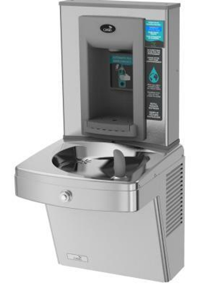 Oasis PGVF8EBF Versacooler II Energy Efficient Refrigerated Drinking Fountain and Electronic Bottle Filler, VersaFiller with Hands Free Activation, Vandal Resistant, Filtered, Stainless Steel