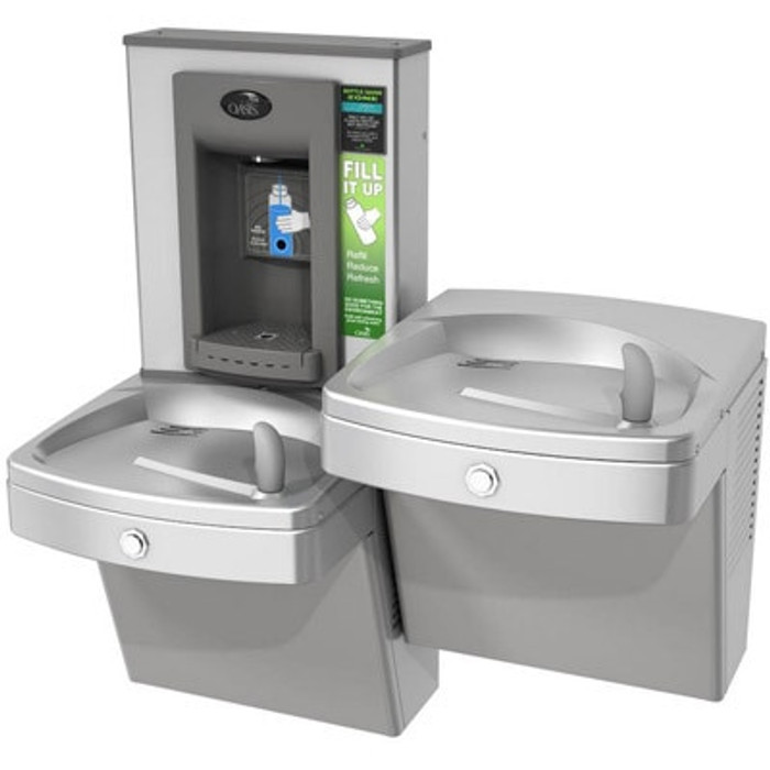 Oasis PGVFEBFSL Versacooler II Drinking Fountain and Electronic Bottle Filler, VersaFiller with Hands Free Activation, Vandal Resistant, Bi-Level, Filtered, Non-Refrigerated, Stainless Steel