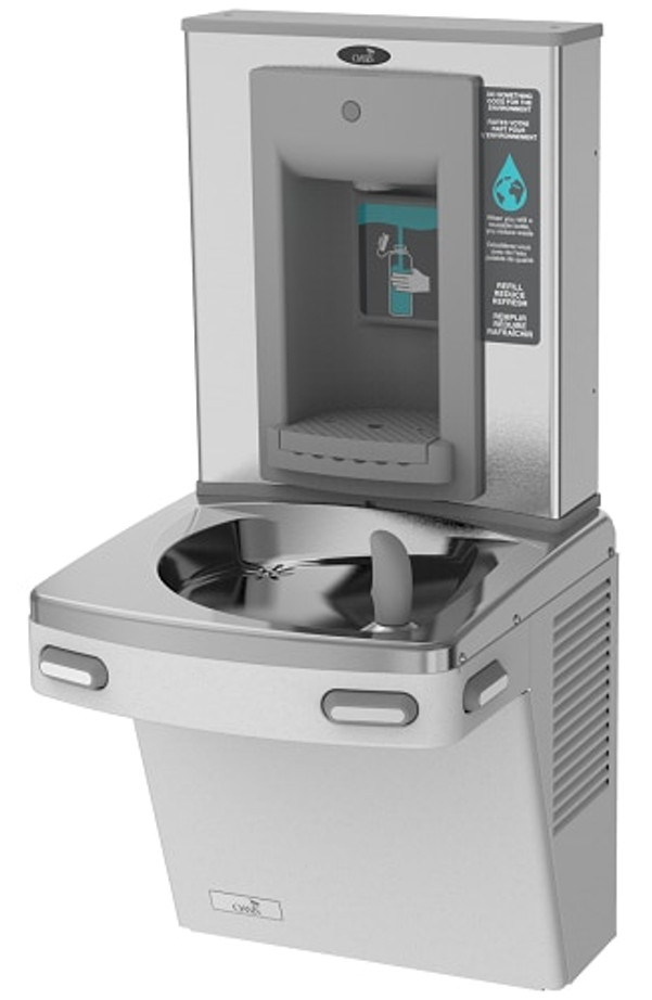 Oasis PGSBF STN Drinking Fountain and Bottle Filler, VersaFiller with Mechanical Activation, Barrier Free ADA, Non-Filtered, Non-Refrigerated, Stainless Steel